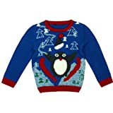 Boys Toddler Penguin Ski Slope Squeek Xmas Knitted Winter Jumper sizes from 9 Months to 6 Years