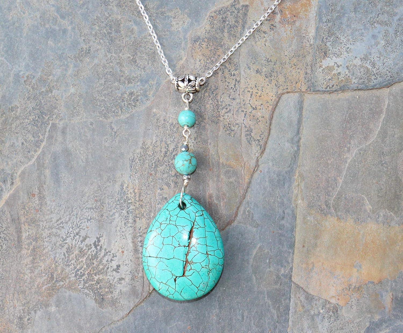 Blue Magnesite Stone Necklace Boho Jewelry Chunky Jewelry Conglomerate Stone Hippie Necklace Lapis Lazuli Beaded Necklace