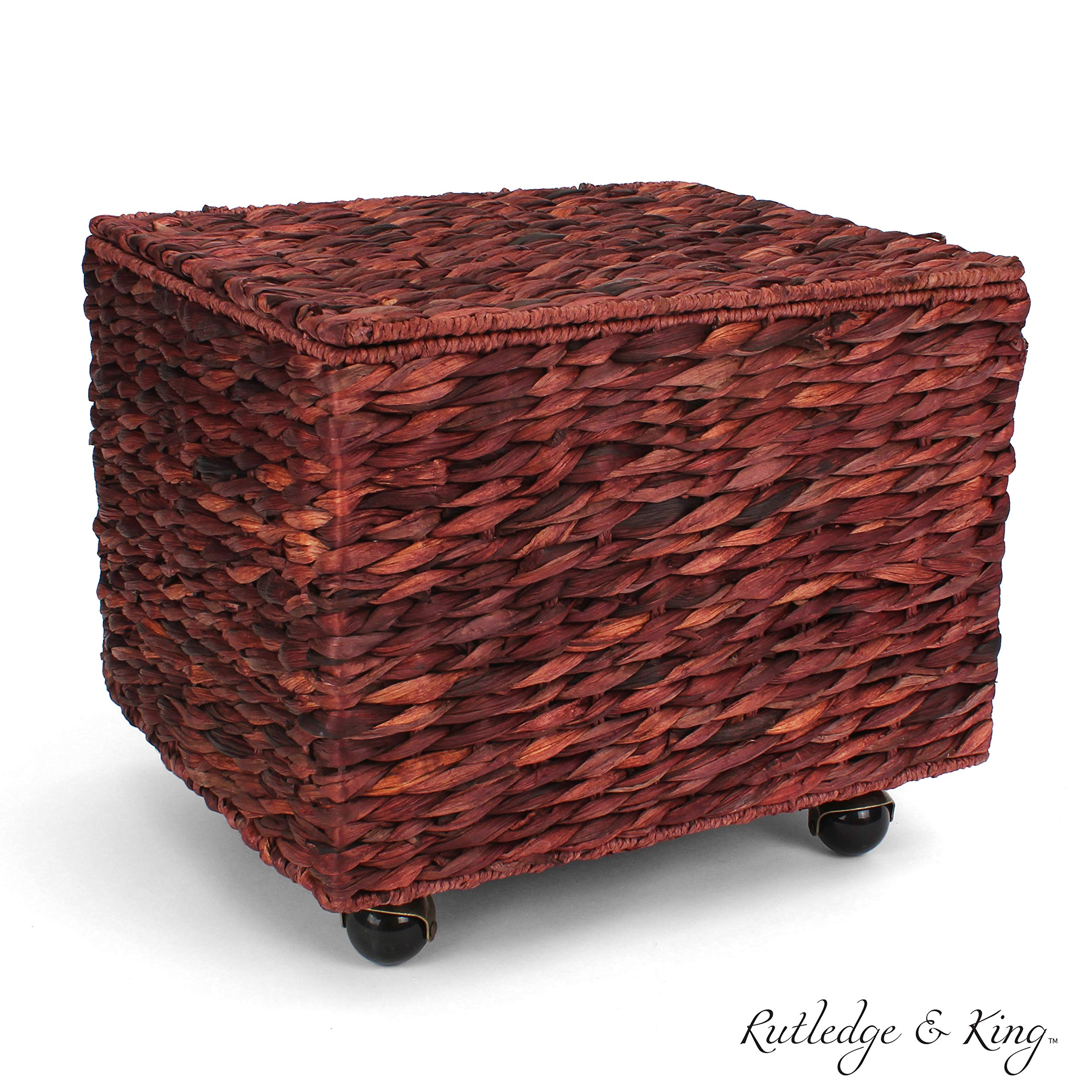 Seagrass Rolling File Cabinet - Home Filing Cabinet - Hanging File Organizer - Home and Office Wicker File Cabinet - Water Hyacinth Storage Basket for File Storage (Russet Brown)