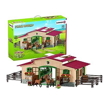 Amazon.com: Establo de juguete con caballos y accesorios ...