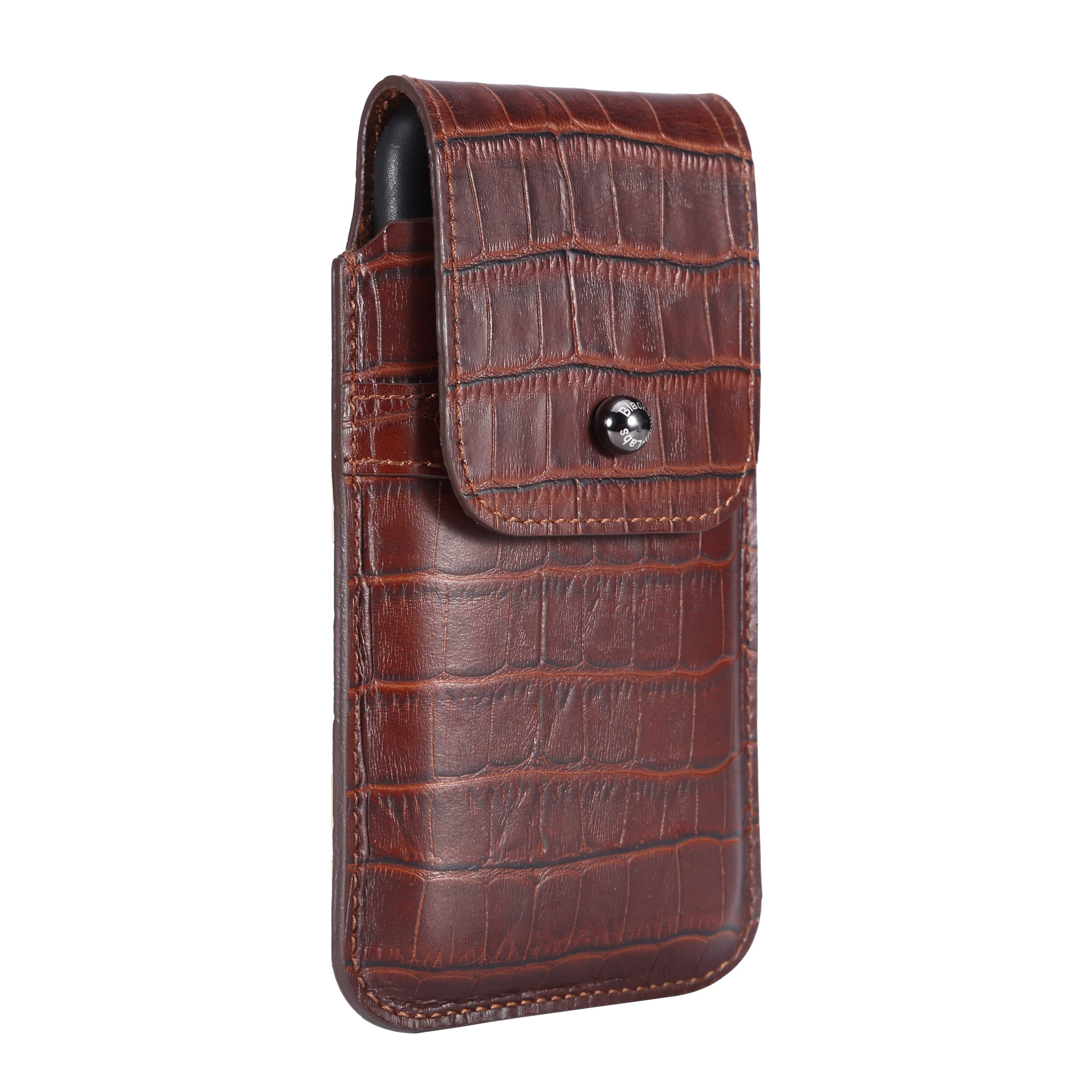 Blacksmith-Labs Barrett Mezzano 2017 Premium Genuine Leather Swivel Belt Clip Holster for Apple iPhone 6/6s/7 for use with Apple Leather Case - Rustic Brown Croc Embossed Cowhide/Gunmetal Belt Clip