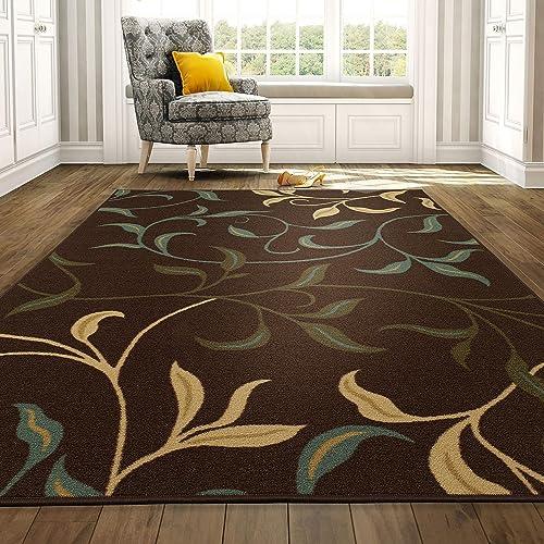 Ottomanson Brown Ottohome Contemporary Design Modern Area Rug