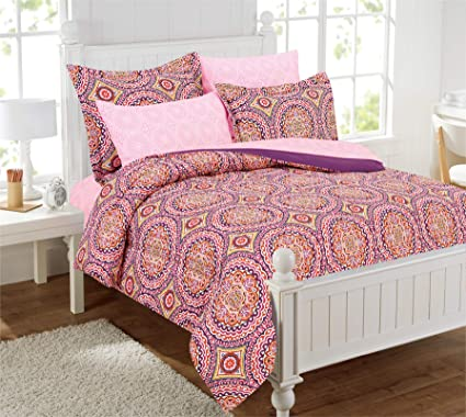 Lovely Design Studio Thalia Medallion Bed In A Bag With Extra Sheet Set, Orange,  Twin