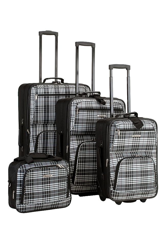 Amazon.com | Rockland Luggage 4 Piece Luggage Set, Black Plaid ...