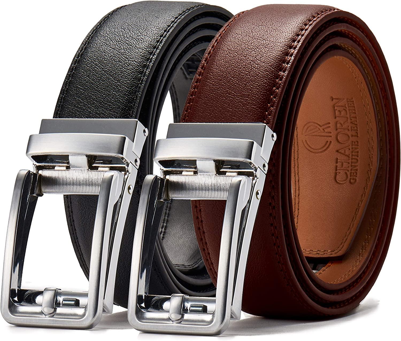 "Leather Ratchet Dress Belt 2 Pack 1 3/8"", Chaoren Click AdjustableBelt Comfort with Slide Buckle, Trim to Exact Fit"
