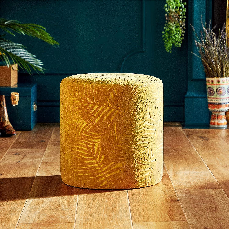 Design a Foglie Pouf Sedile Beautify Sgabello in Velluto Jacquard Tondo Spogliatoio Tessuto Giallo Senape