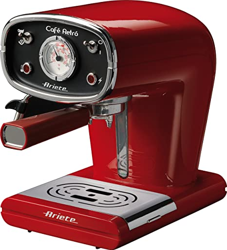 Ariete 1388-30 1388/31 CAFETERA Espresso Negra Cafe Retro, 900 W, 2 Cups, Aluminio, Rojo