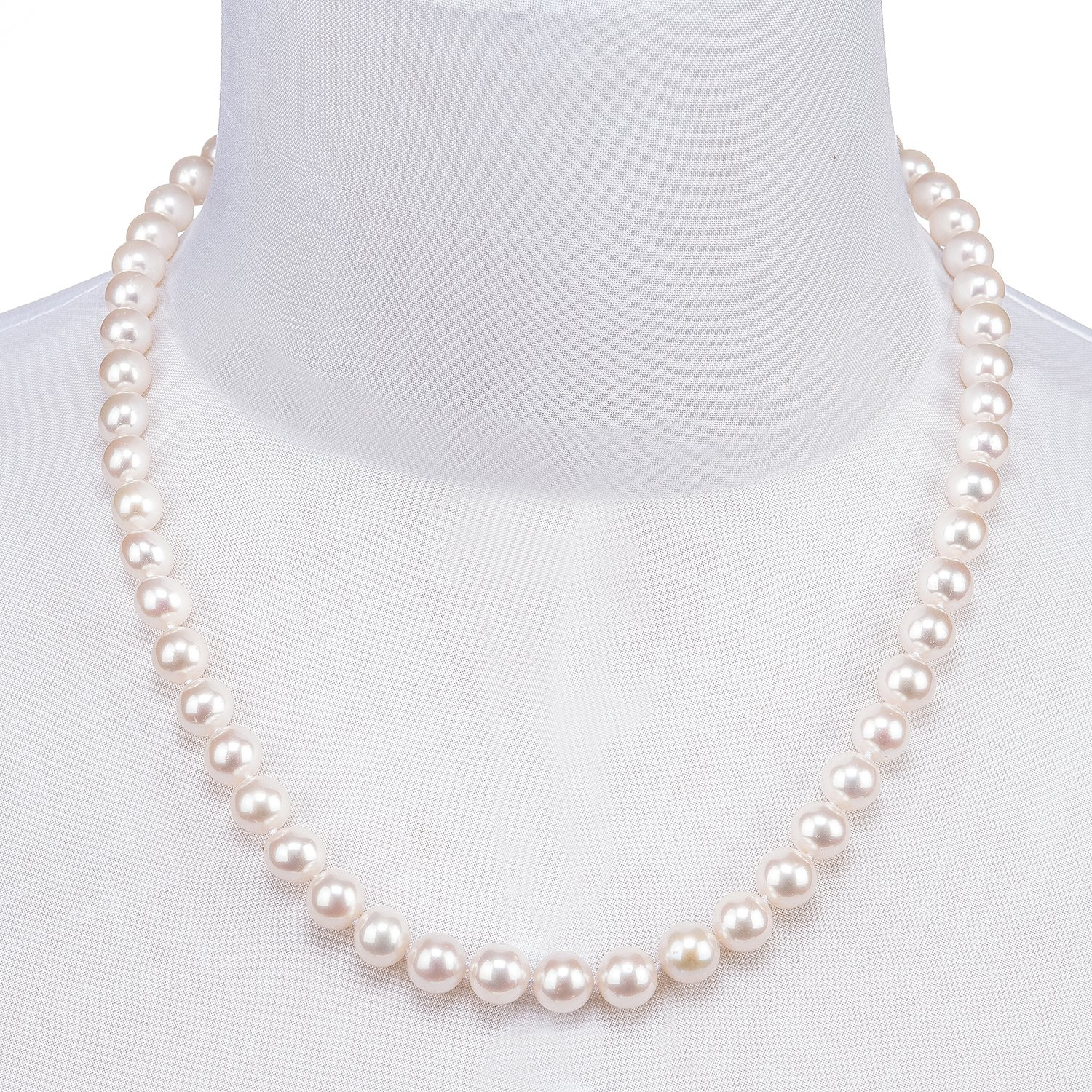 PAVOI 14K Gold AAA Handpicked White Freshwater Cultured Pearl Necklace 18 Princess Length