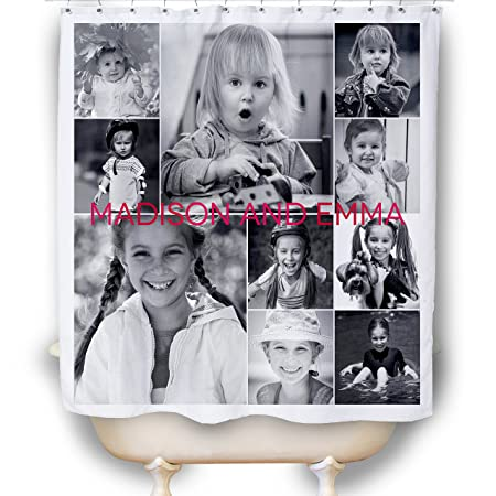 Personalized Photo Collage Shower Curtain Amazoncouk Kitchen Home