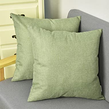 NATUS WEAVER Outlet Decorative 18 X 18 Inch Linen Cloth Pillow Cover Cushion Case for Bench, Green, 2 Pieces