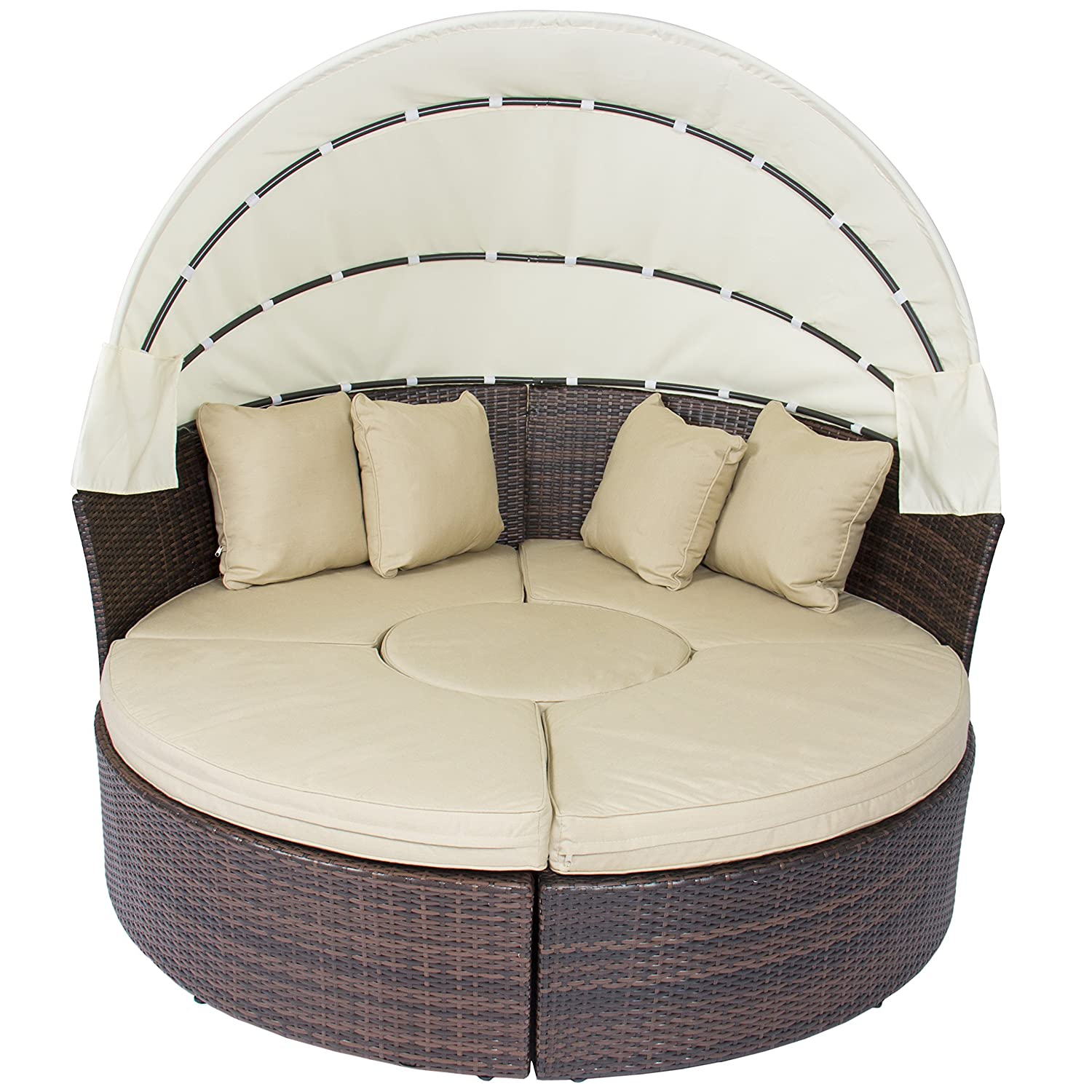 Amazon.com : Outdoor Patio Sofa Furniture Round Retractable Canopy Daybed  Brown Wicker Rattan : Garden U0026 Outdoor