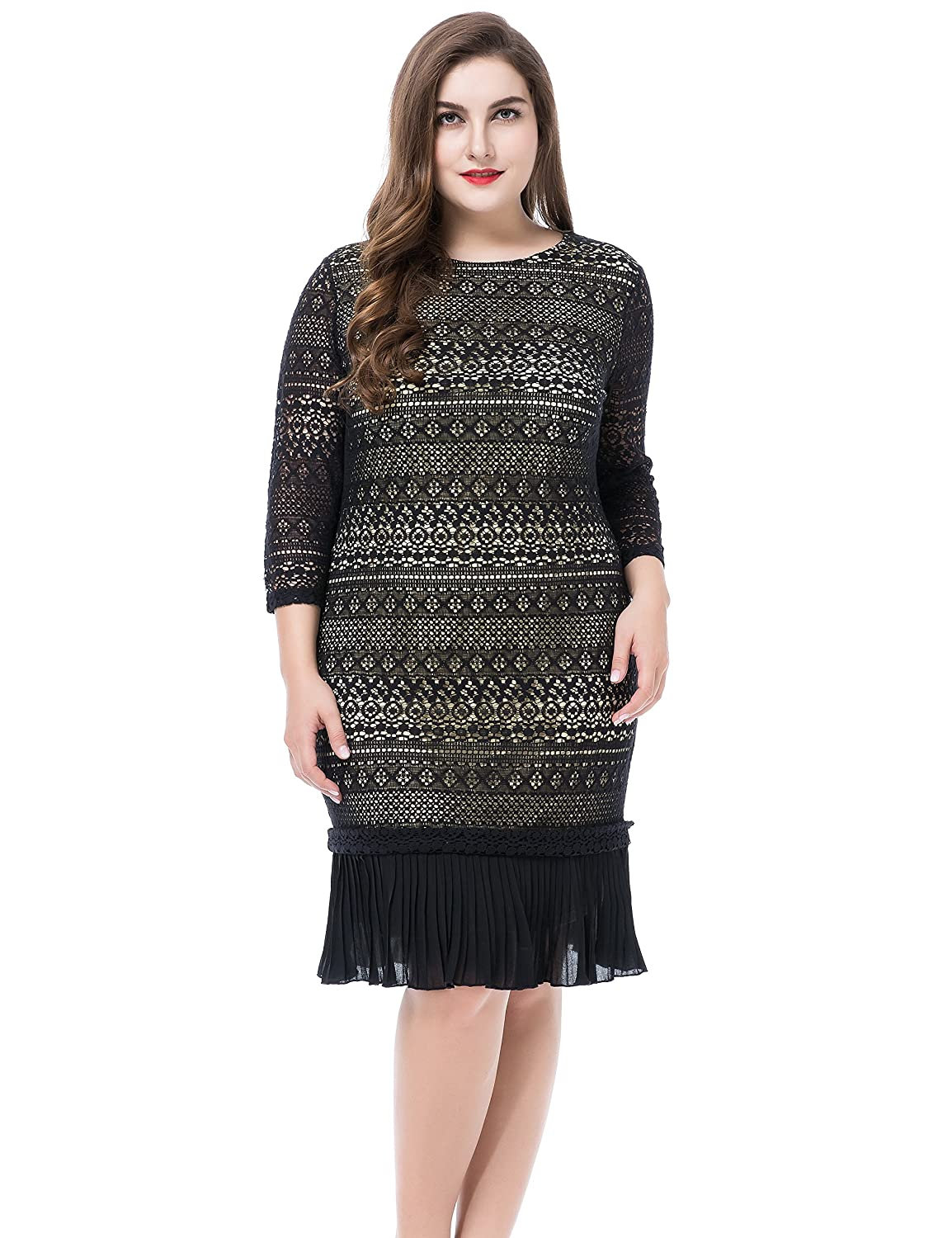 e5afb889a1e Chicwe Women s Plus Size Contrast Lined Lace Dress with Pleated Hem - Knee  Length Work Casual Party Cocktail Dress at Amazon Women s Clothing store