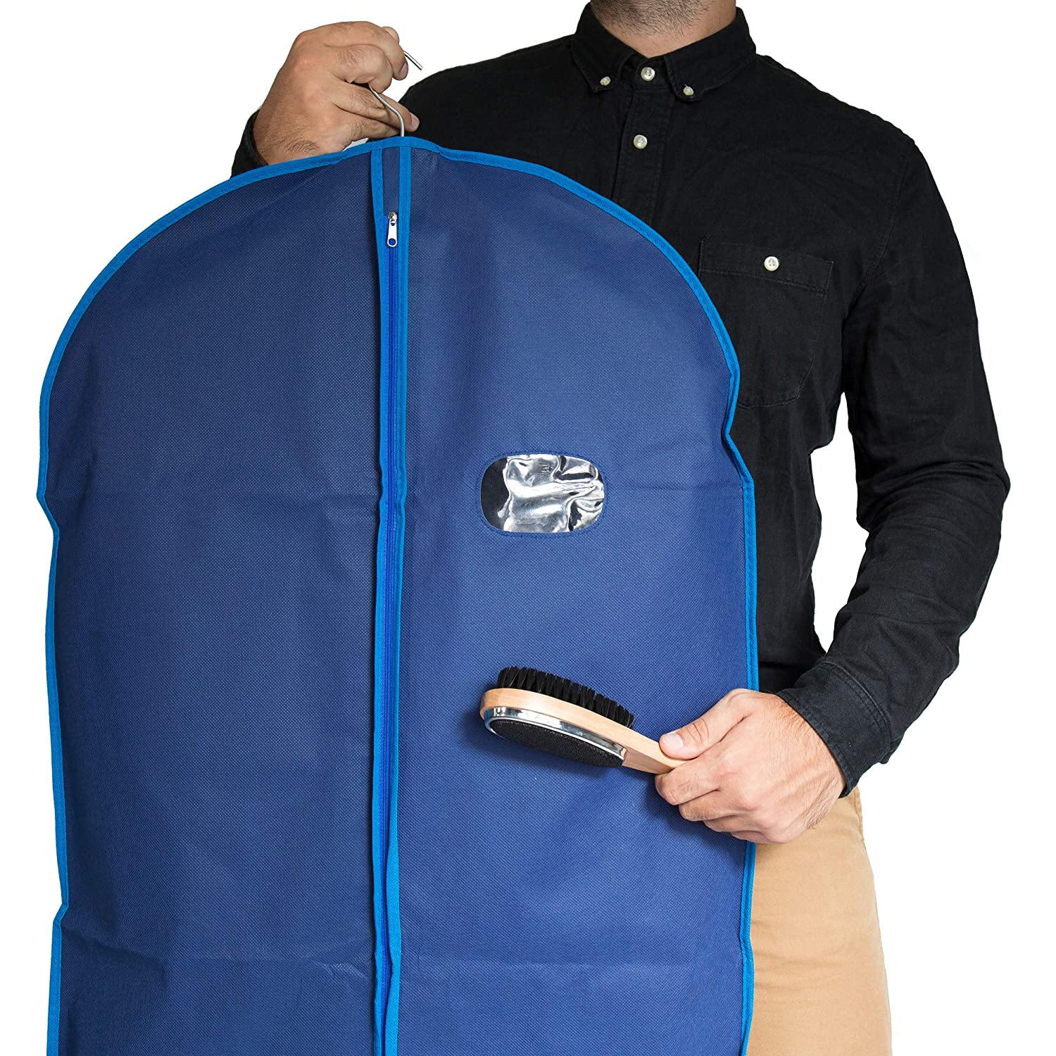 Navy /& Blue Finish Garment Bags by Home Zone 4 Pack of Breathable Garment Suit Bag Clothes Covers Medium Size ZH-BGC-BLU-K4 Protect Garments /& Suits Ideal for Mens Travel /& Clothing Protection
