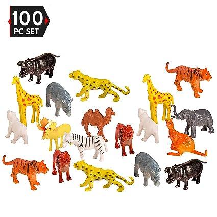Amazon Com 100 Piece Party Pack Mini Wild Jungle Animals Plastic