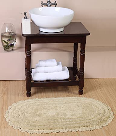 Homeway Décor Reversible 100% Cotton Hand Croched Tuffted 2134 Bath Rug  (Linen)