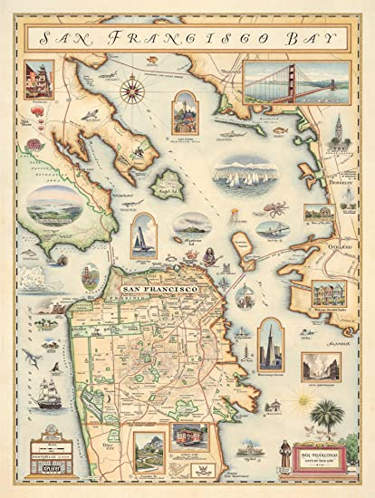 photo about Printable Map of San Francisco titled Xplorer Maps San Francisco Bay Map - Map Artwork, No Body - Print Merely