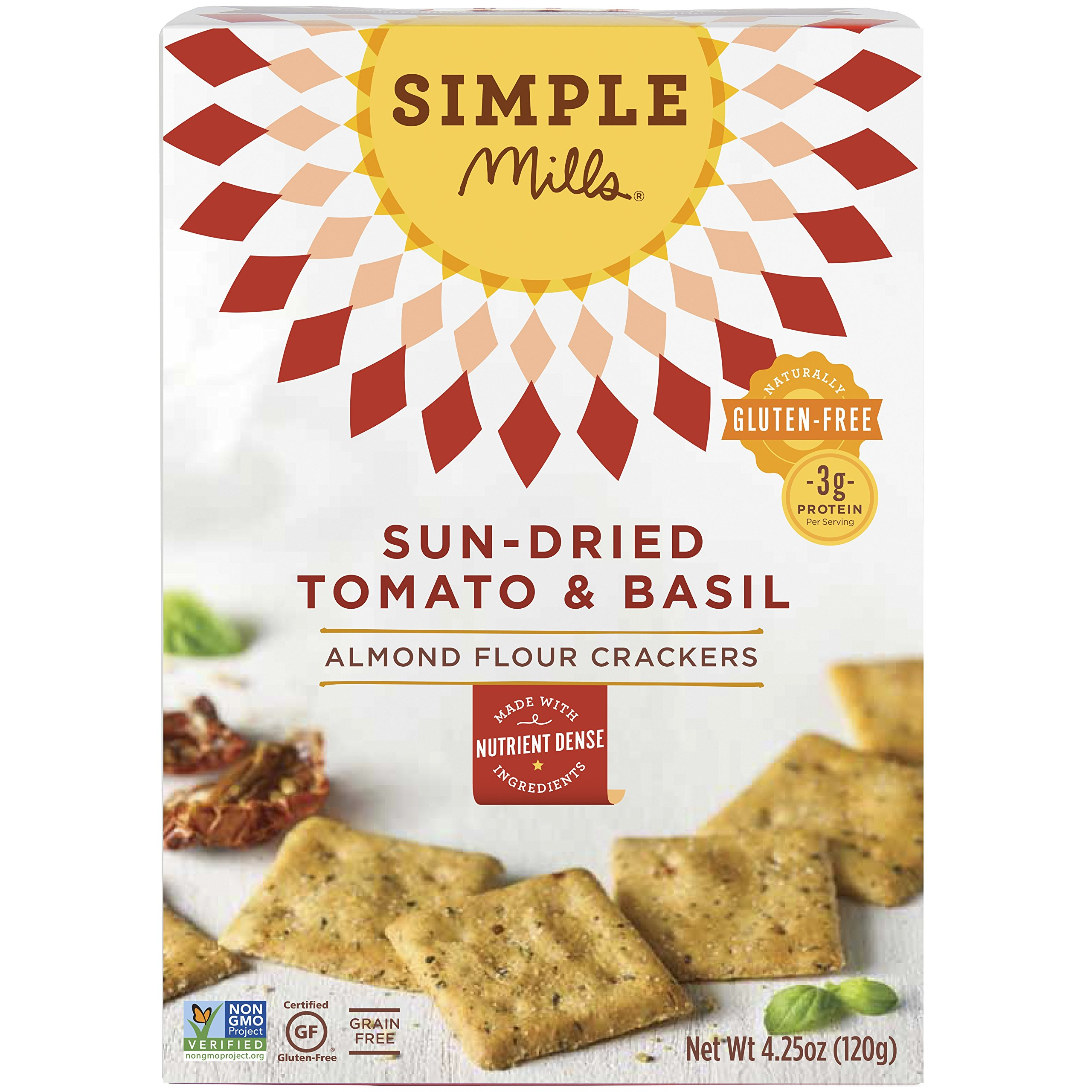 Simple Mills Almond Flour Crackers, Sundried Tomato & Basil, 4.25 oz by Simple Mills