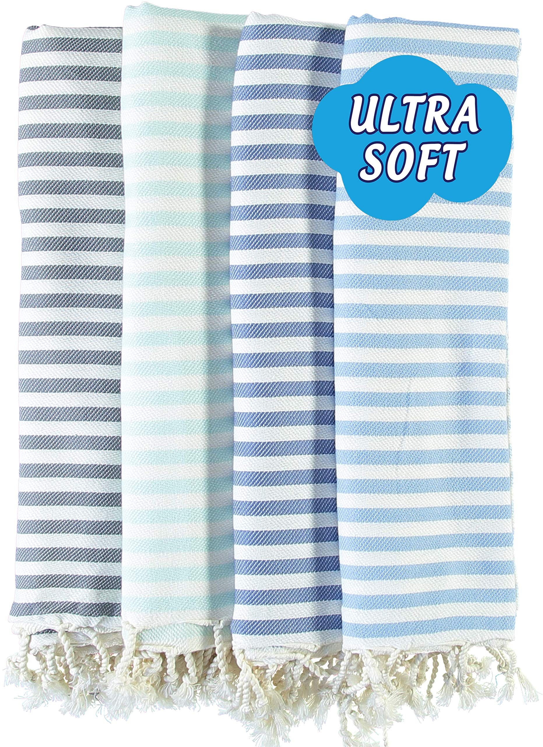 LOOMANGO (Set of 4) Marine Collection Premium Quality Ultra Soft 100% Cotton 70''x39'' Turkish Towel