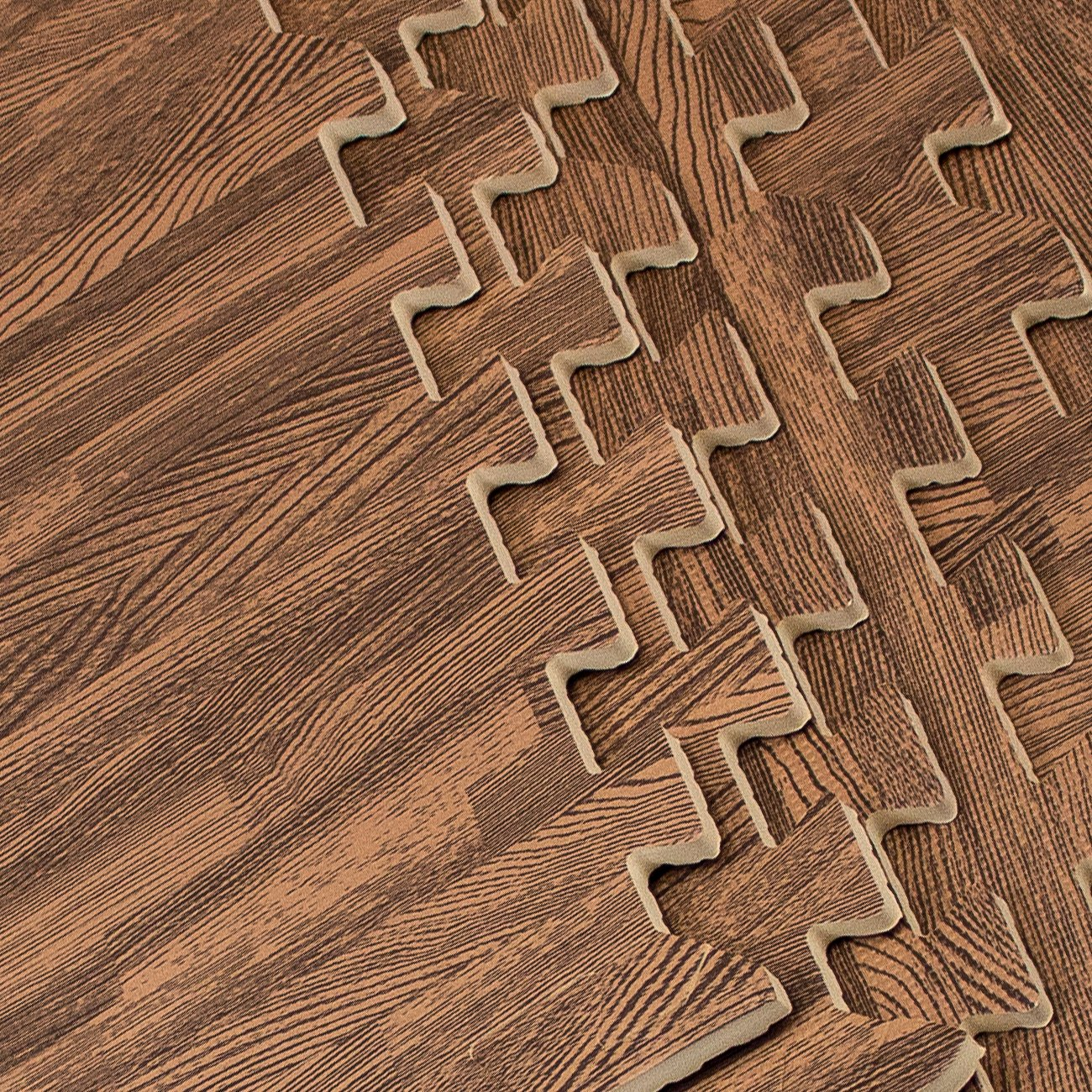 Sorbus Interlocking Floor Mat Print, Wood Grain - Dark (6-Piece) by Sorbus (Image #8)