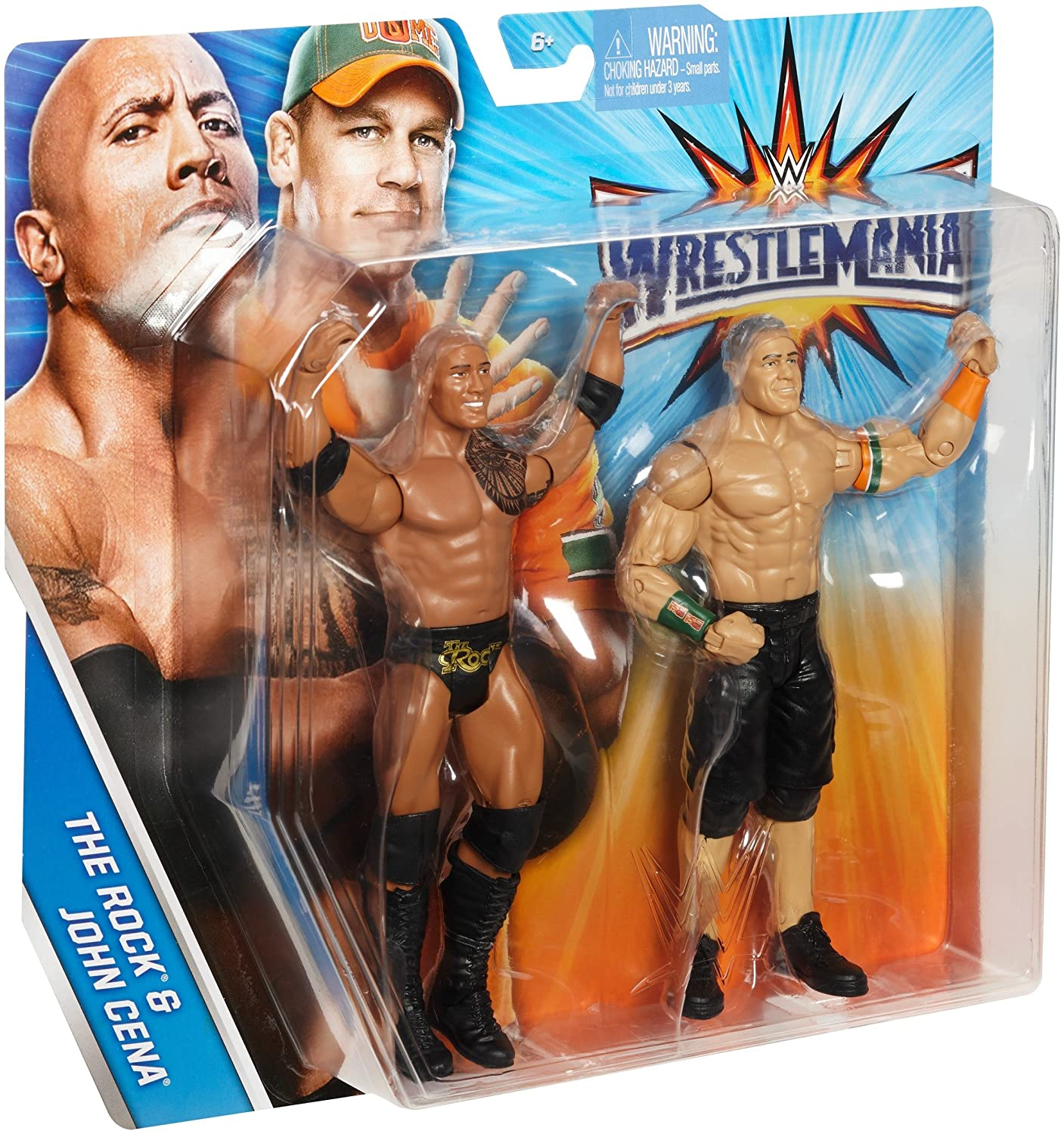 Amazon.com: WWE WrestleMania The Rock & John Cena Figures, 2 Pack ...