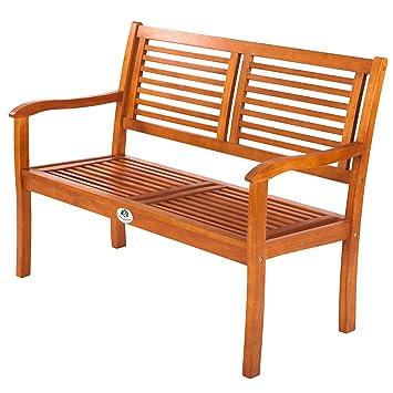 Ultranatura Gartenbank 2 Sitzer, Edles Und Hochwertiges Eukalyptusholz, 120  X 56 X 91