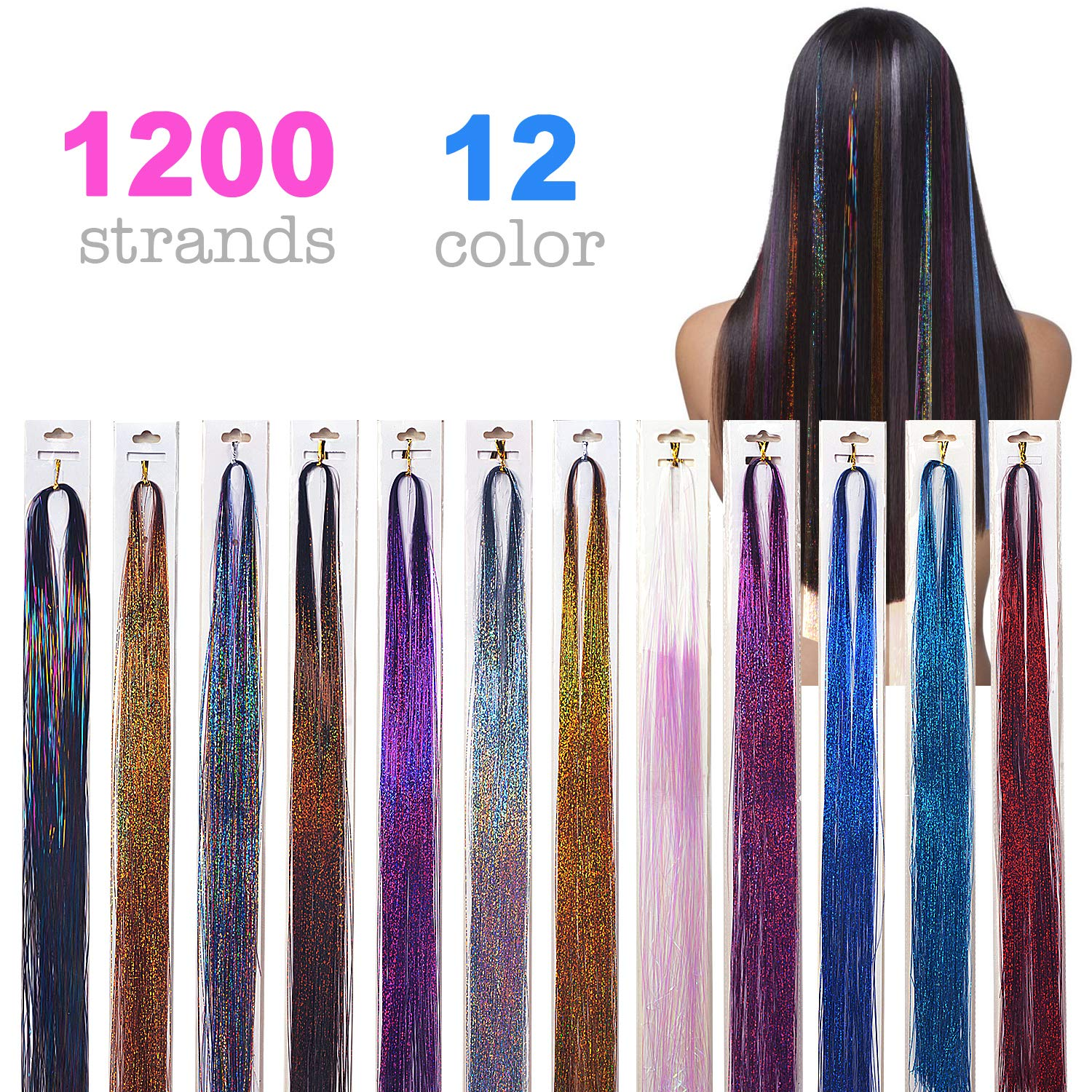 1200 Strands Hair Tinsel 40'' Glitter Hair Extensions Sparkling Tinsel Hair Extensions for Party Highlight Hair Extensions, 12 Colors
