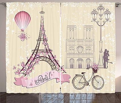 Amazon Ambesonne Kiss Curtains Floral Paris Symbols Landmarks