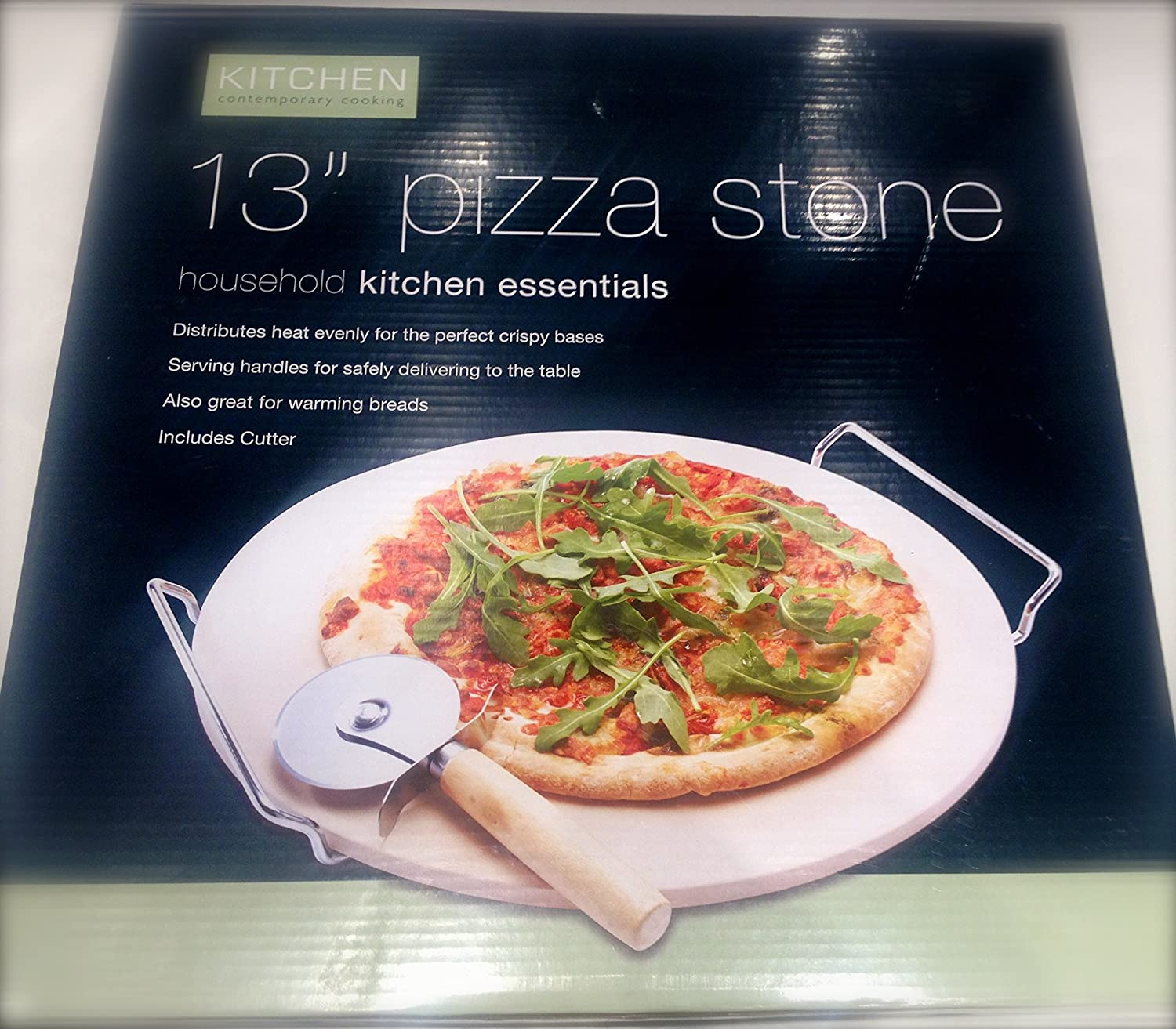 13 inch Pizza Stone Tray With Handle & Cutter