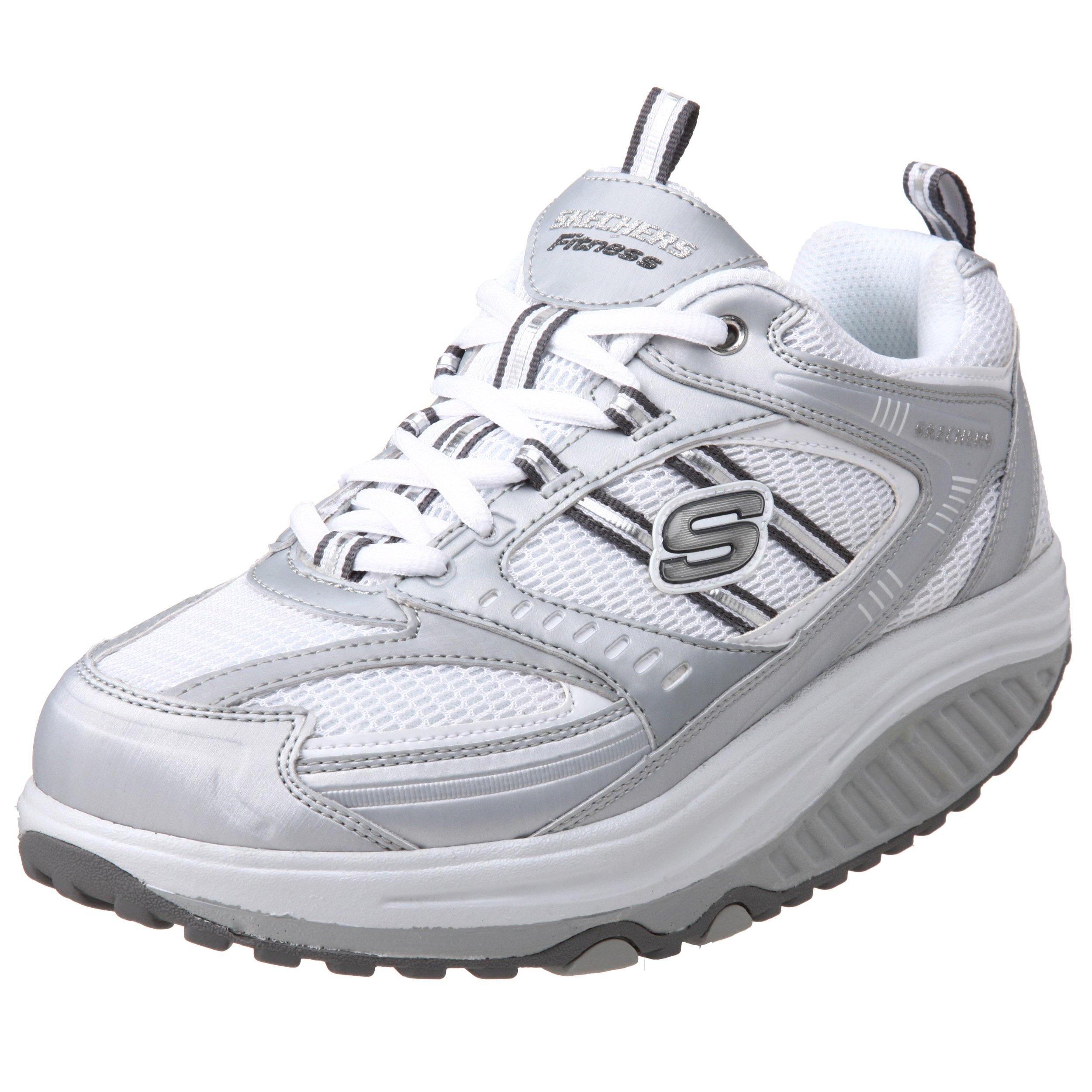 Skechers Women's Shape Ups Sneaker,Silver/White,9.5 M US