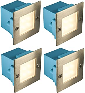 2 pack led brick light led garden wall light warm white colour 4 x mini brick light led outdoor step light 70mm square ip54 warm white recessed wall mozeypictures Choice Image