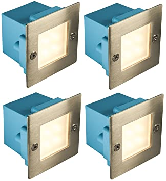 4 x mini brick light led outdoor step light 70mm square ip54 warm 4 x mini brick light led outdoor step light 70mm square ip54 warm white recessed wall aloadofball Image collections
