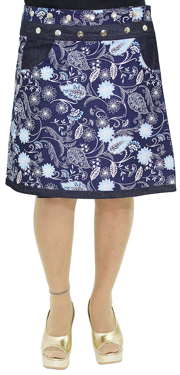 Women/'s Cotton Skirt Floral Print Button Closure Warp Mini Skirt