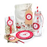 Christmas Eve Gift Bag filled with, Magic Reindeer Food, Magic Key, Christmas Cookie Coaster and Milk Bottle