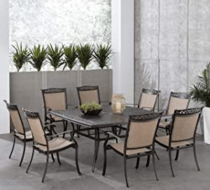 Hanover Fontana 9-Piece Dining Set with 8 Sling Chairs and a 60-in. Square Cast-Top Table, FNTDN9PCSQC Outdoor Furniture, Tan