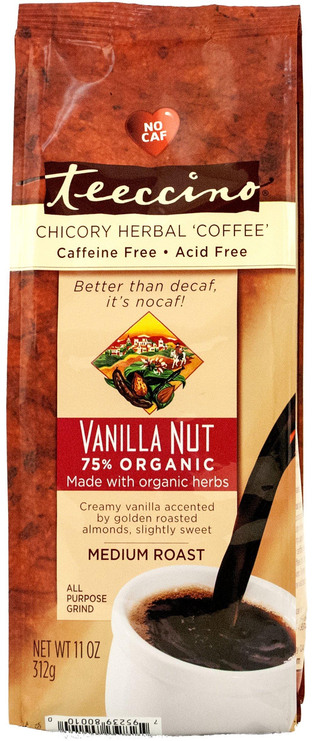 Teeccino Vanilla Nut Chicory Herbal Coffee Alternative, Caffeine Free, Acid Free, 11 Ounce
