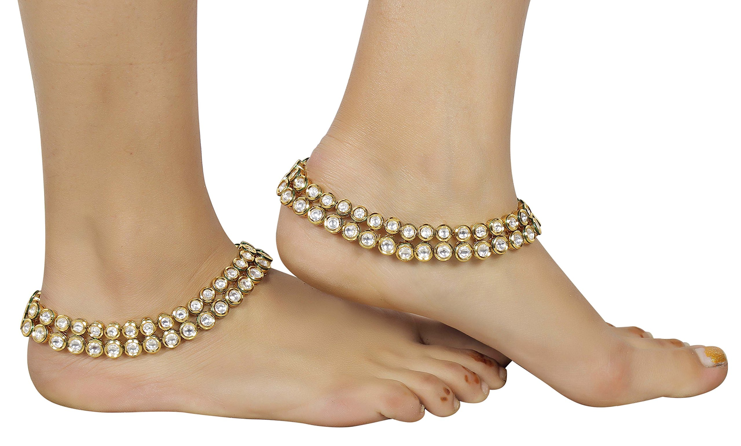 Muchmore Asian Ethnic Traditional Fashion Gold Tone Kundan Stone Anklet Partywear Jewelry by MUCHMORE (Image #5)