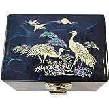 Petite boite à bijoux bleu, coffret fantaisie en nacre naturelle et laque, artisanat Coréen, design couple de hérons