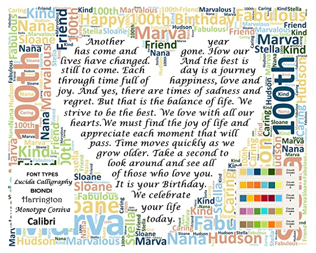 100th Birthday Gifts Gift Poem 100 Personalized One Hundred For Her Him Man Woman Men Women