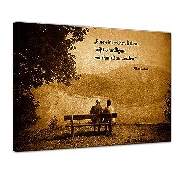 Leinwandbild Mit Zitat Einen Menschen Lieben Heisst Einwilligen