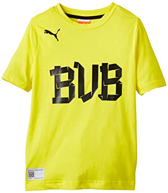 Puma - Camiseta de fútbol sala infantil, tamaño 176 UK, color amarillo llameante -