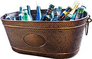 BREKX Colt Hammered Copper Finish Beverage Party Tub & Wine Chiller - Large - Galvanized Bronze