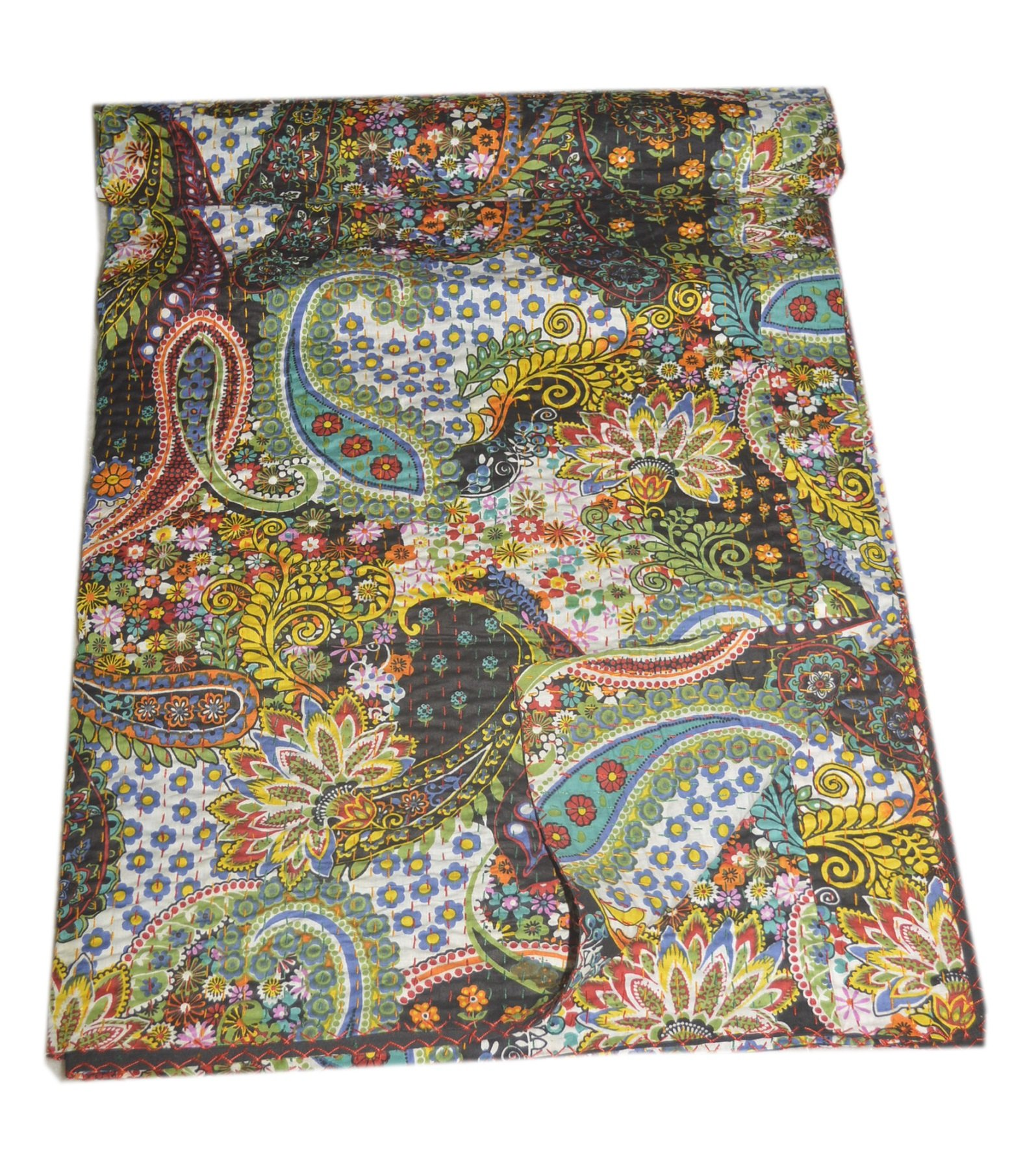 Tribal Asian Textiles Queen Kantha Quilt In Black paisley, Kantha Blanket Bedding Bedspread Throw by Tribal Asian Textiles (Image #1)
