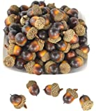 SAMYO 50 PCS Simulation Artificial Lifelike Fruit Nutty-brown Acorns for Fall Table Scatter Crafting, drawing ,Home House Kitchen and Autumn Decoration