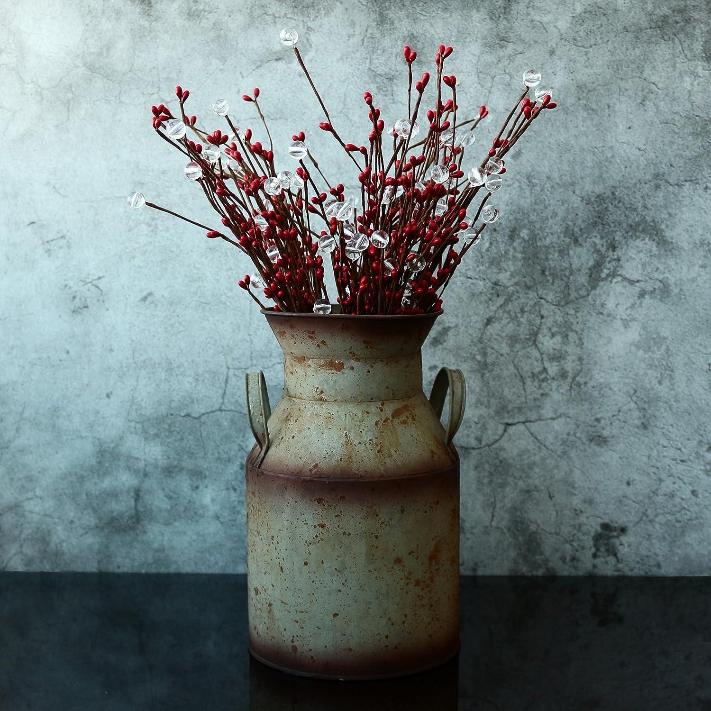 Old Country Rustique Primitif Carafe Vase pour la Maison et Le Jardin D/écor 1//20,3/x 25,4/cm 1//20,3/cm X 6 CVHOMEDECO Vhomedeco 6 Peut de Lait en M/étal Galvanis/é
