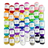 Mira Handcrafts Basic 40 Assorted Colors Acrylic Yarn Skeins with 3 E-Books