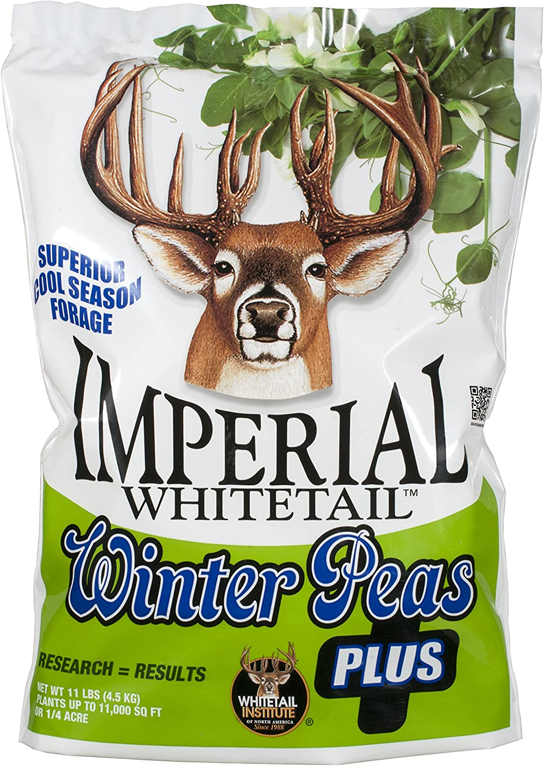 Whitetail Institute Winter Peas Plus Deer Food Plot Seed, Superior Cool Season Forage Designed to Maximize Deer Attraction into The Late Season, Very Cold Tolerant, 11 lbs (.25 Acre)