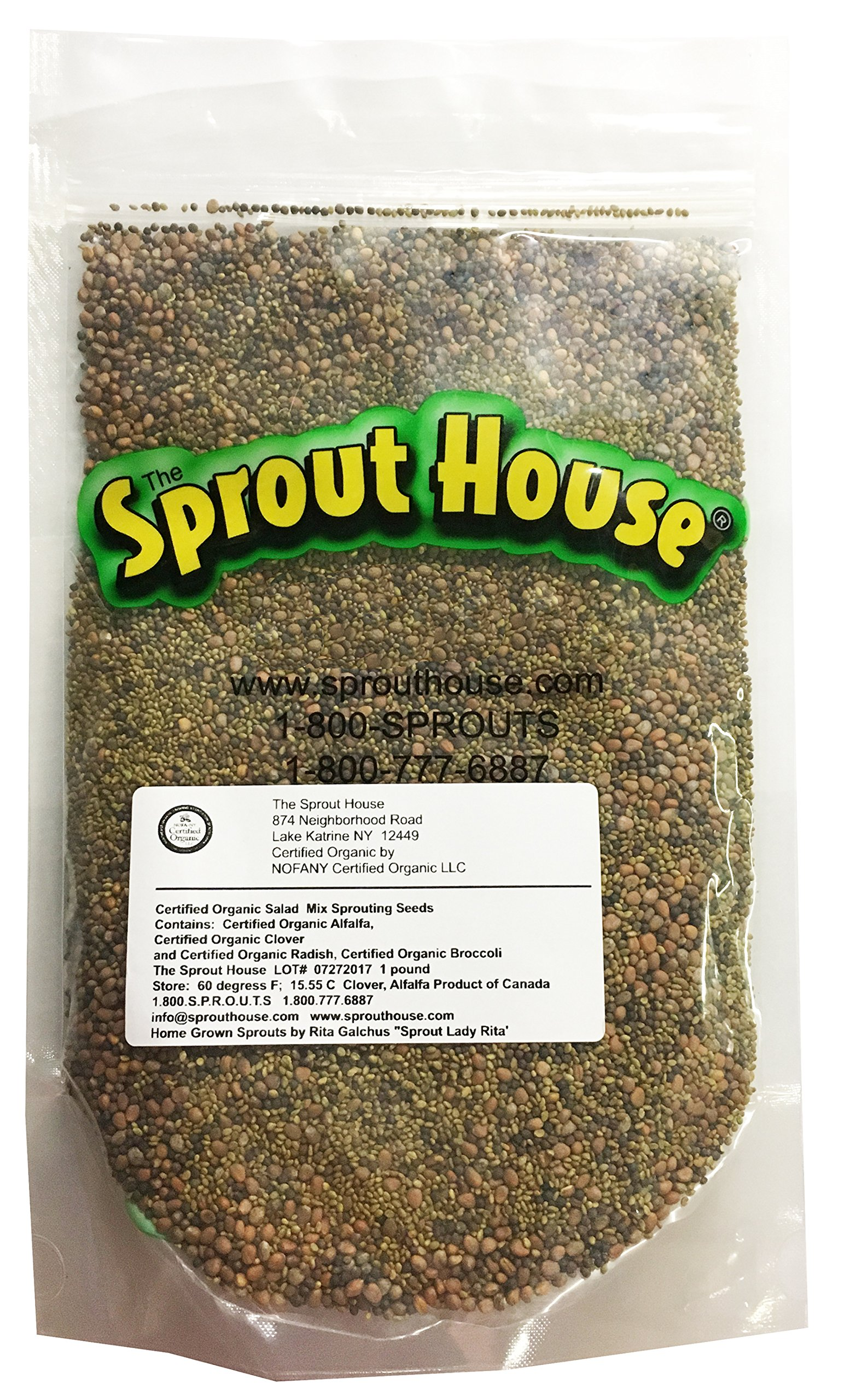 The Sprout House Certified Organic Non-gmo Sprouting Seeds Salad Mix Broccoli, Clover, Radish, Alfalfa 1 Pound