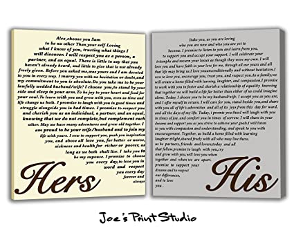 amazon com set of 2 wedding vows canvas print art his and hers mr