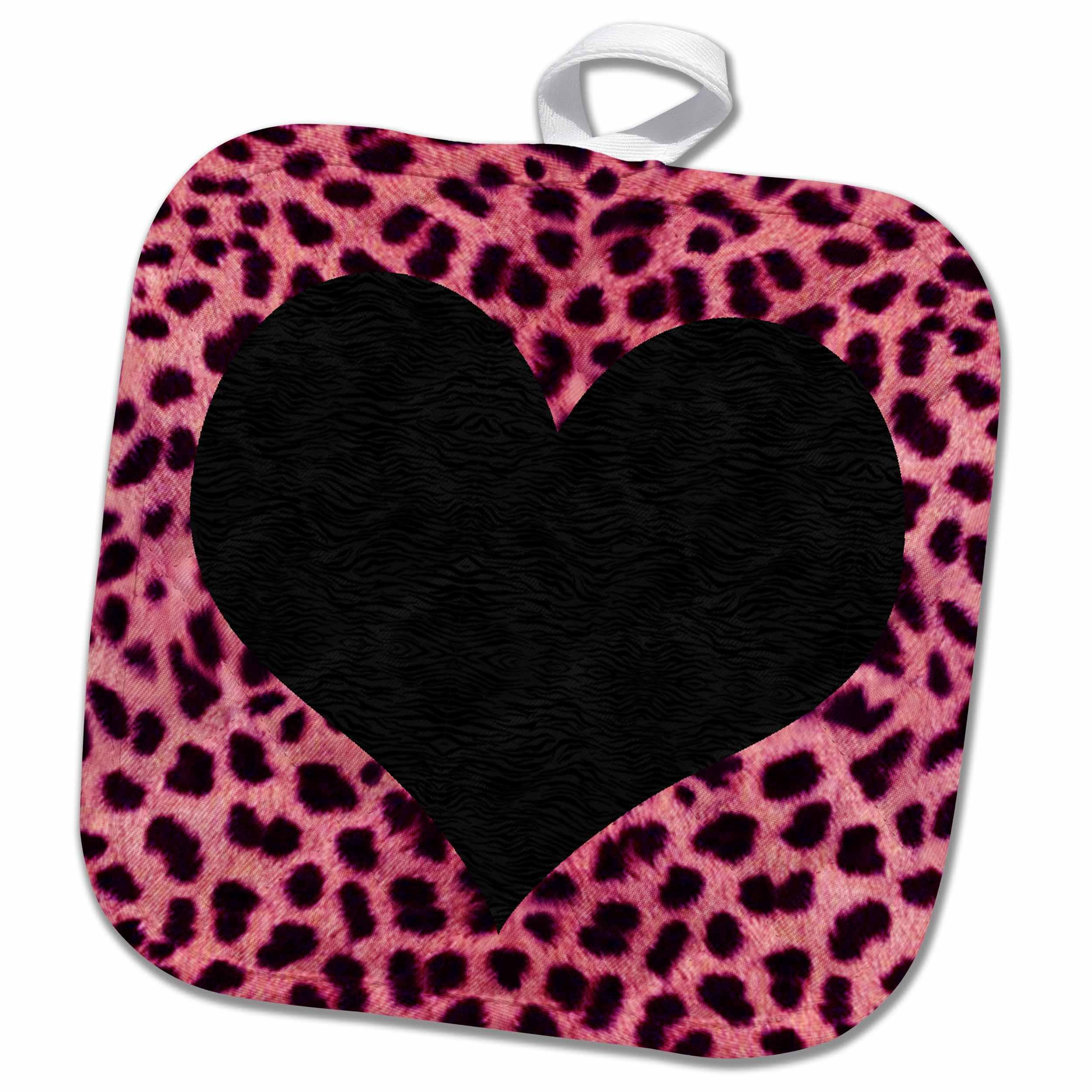 3dRose Punk Rockabilly Pink Cheetah Animal Print Black Heart Pot Holder, 8 x 8, White