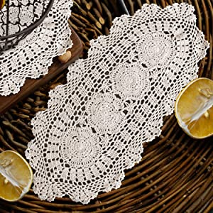 "Koopro Crochet Doilies Beige Table Runner Cotton Tablecloth Lace Desk Decoration Elliptical Coffee Table Dresser Scarf Decor Handmade Placemats for Dinning Room Restaurant Hotel House Office (12""×24"")"